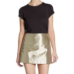 Alice + Olivia Metallic Gold Myra Mini Skirt